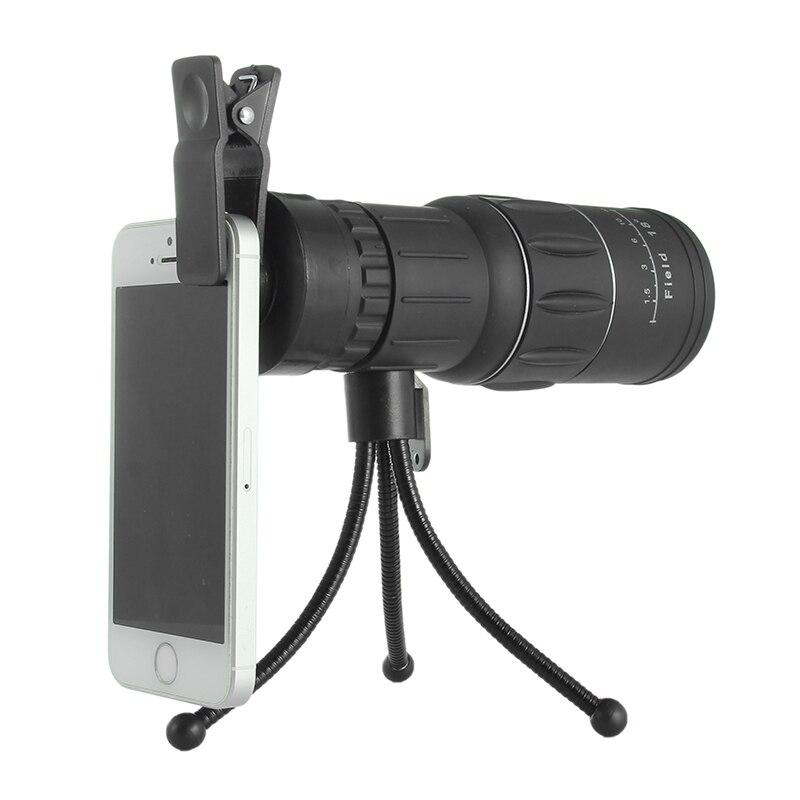 imágenes para 16X52 Teléfono Móvil Senderismo Telescopio Monocular Telescopio Lente Con Clip de Soporte Del Trípode Universal Para el iphone Para Samsung Teléfono Inteligente