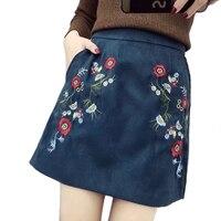 2018 Summer Women Sexy Faux Suede Skirt Floral Embroidery Back Zipper Mini Skirt Korea Fashion Girls Fashion Streetwear