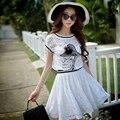 2017 Original Marca Robe Senhora Verão Plus Size Alta Qualidade Beleza Branco Impresso Moda Casual Vestidos de Renda Das Mulheres Por Atacado