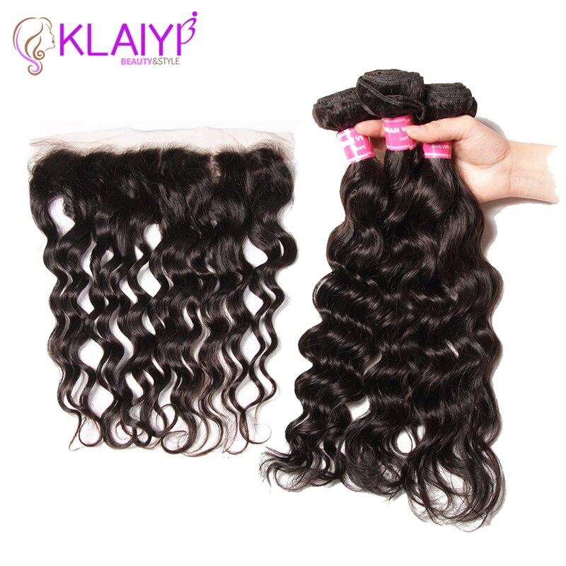 Natural Wave Bundles With Closure Malaysian Hair 3 Bundle Human Hair Weave Free Part Lace Frontal