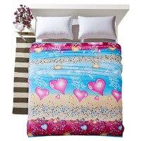 Cozzy 2016 New Sweet Heart Print Extra Soft Brush Velvet Blanket For Bed Sofa Lightweight Easy