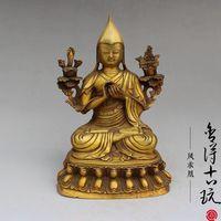 China old antique handmade Brass Buddha Padmasambhava statue