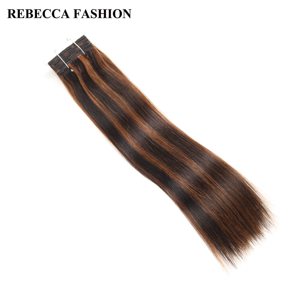 Rebecca Double Drawn Hair 113g   Silky Straight  Hair Piano Brown 613 Blonde Colors  Bundles 1pc 3