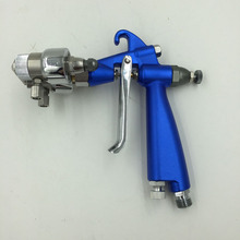 цена на SAT1201 pneumatic spray gun high pressure spray paint silver mirror chrome spray gun high pressure double nozzle paint gun