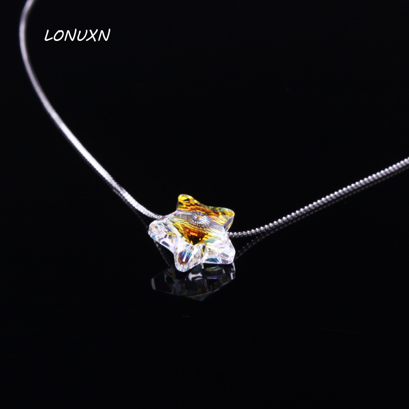 12mm Colorful Five-Pointed Star Necklace Crystal Pendant Women Party cute Jewelry Girl Wedding Party Shining Lovely Austria Gift