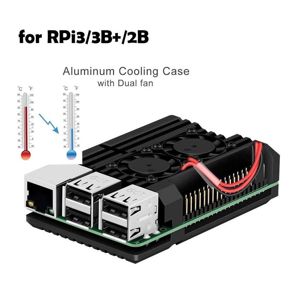 Raspberry Pi 3 Model B+ dedicated Aluminum Case with Dual Cooling Fan Metal Shell Black Enclosure for Raspberry Pi 3 Model B
