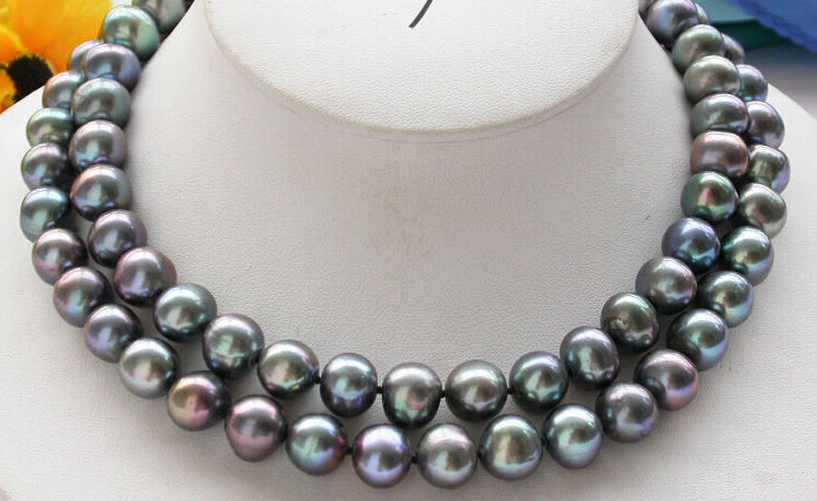 ***Hot sale 32 12mm Black round freshwater pearl cultured necklace 50 12mm round black freshwater cultured pearl necklace