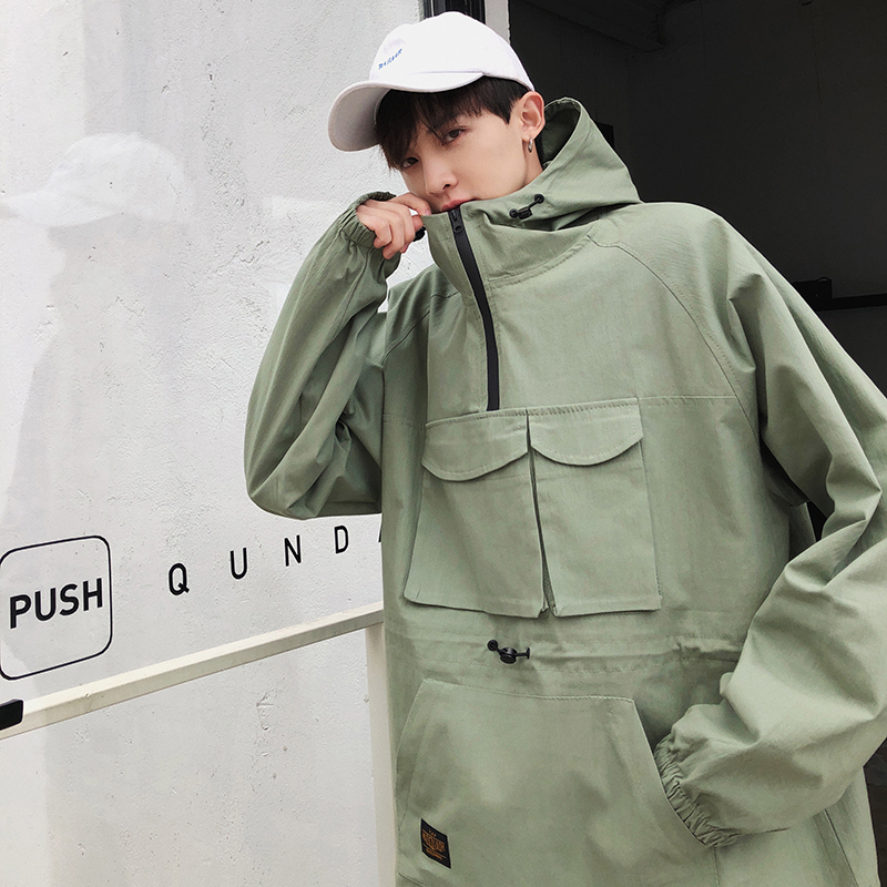 2019 Tide Spring Safari Style Pockets Zipper Collar Work Jacket Army Green Men Pullover Clothes Male Loose White Coat M 2XL