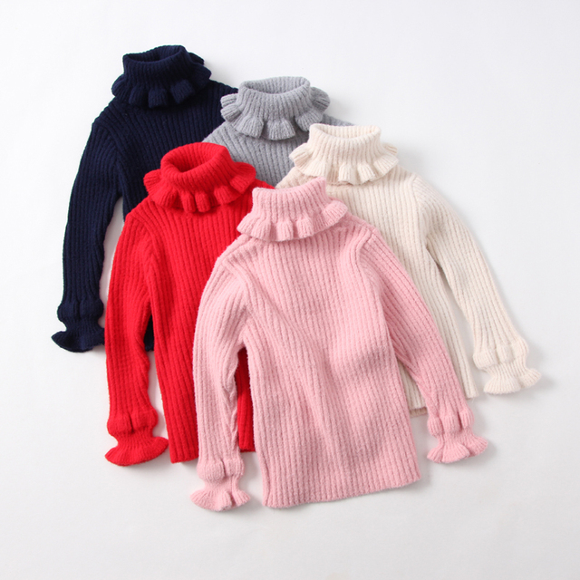 Spring Autumn Baby Girls Turtleneck Solid Pullover Flower Ruched Children Sweater Knitted Clothes Kids Clothing 6pcs/LOT