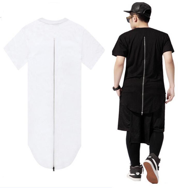 kanye West Long Back Zipper t shirt Short Sleeve Hip Hop Extended t shirt  versa shirt ce Tee Tops-in T-Shirts from Men s Clothing on Aliexpress.com  ... e49d8dd07c2