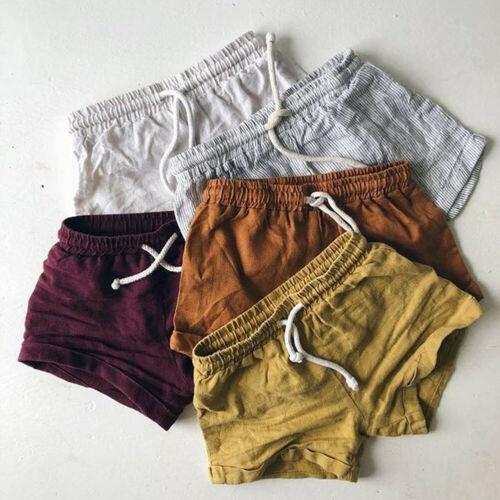 Summer Baby Toddler Boys Girls Cotton & Linen Shorts Solid Color Belt Kids Harem Short Shorts