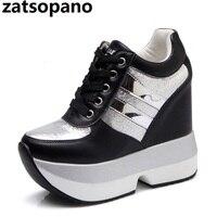Zatsopano Women's High Platform Shoes 2019 Women Height Increase Shoes 12CM Thick Sole Trainers Ladies Sneakers Hidden Heels