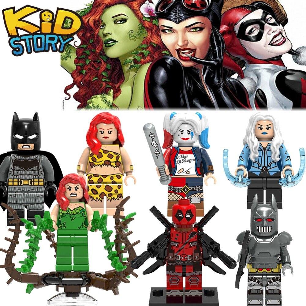 Single Sale LegoING Super Heroes Spiderman Batman Catwoman Joker Poison Ivy Harley Quinn Building Blocks Deadpool Toys For Kids
