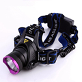 Purple head headlamp glare headlights T6 LED outdoor head lamp zoom charging batteries long-range waterproof fishing headlight