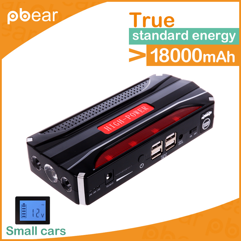 2017 Pbear 18800mAh Powerbank Universal Charger for phone Multi-Function Car Jump Starter Battery Charger Power Bank Booster high quality 12v universal car charger 50800mah multi function car jump starter power bank rechargable battery