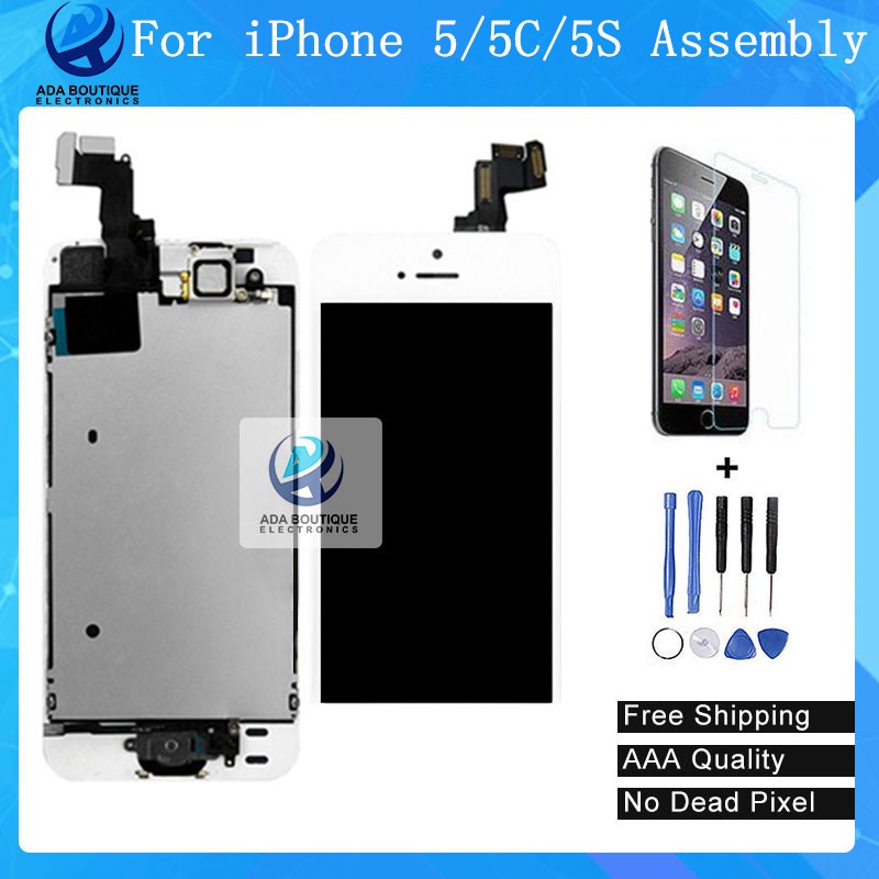 Best Quality Test AAA NEW lcd display touch screen with digitizer home button front camera speaker assembly for iphone 5 5s 5c 10pcs highscreen brand new aaa quality lcd for iphone 5 screen with digitizer assembly camera holder