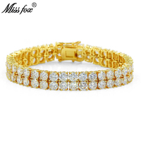 MISSFOX Hiphop Double Row Men Tennis Bracelet 7mm Gold/Silver/Rosegold Quotes Famous Brand Jewelry Meus Pedidos Brazalete Hombre