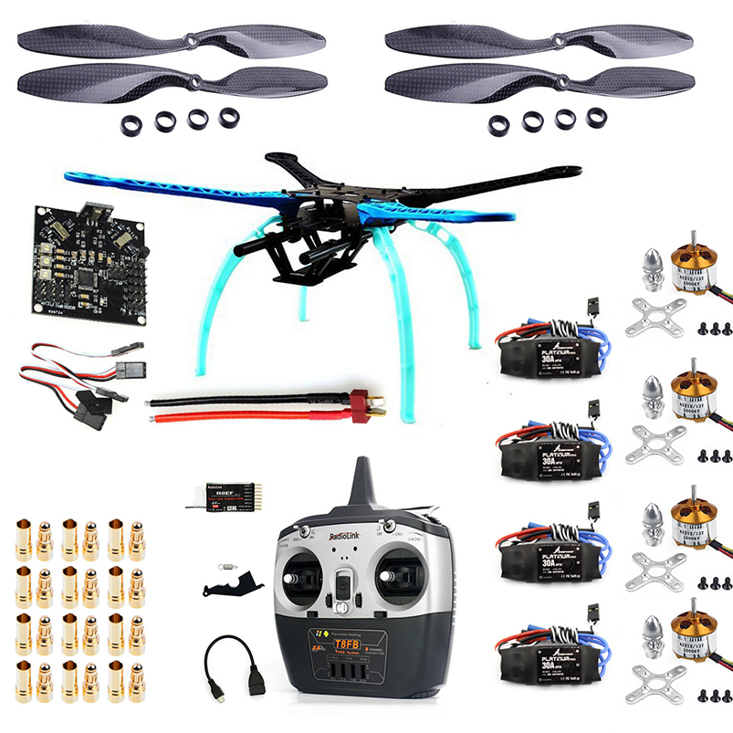 S500 RC Drone ARF Upgrade Kit Frame + Landing Gear + KK Flight Control Board + 1045 Carbon Propellers + 8CH TX RX F08151-F diy 130mm fpv drone with pdb frame kit upgrade naza32 acro flight control r6dsm frsky fs x6b rfasb receiver for rc racer quad