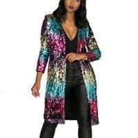 Casual Long Sequins Coat Gradient Color sequined Coats jacket Beading Cardigan Metal Color casual splicing Windbreaker