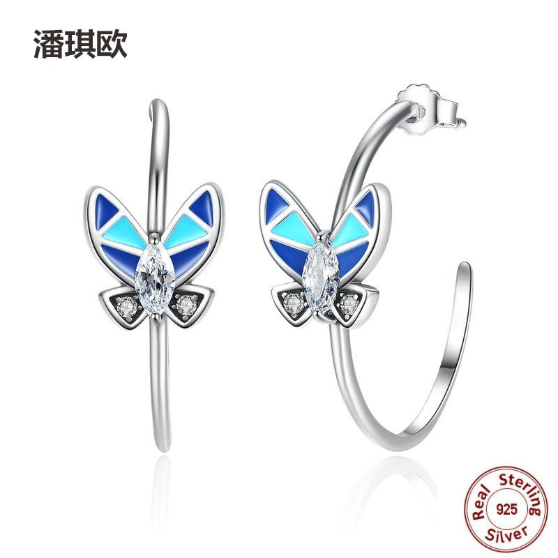 NEW Retro 925 Sterling Silver Round Earrings Blue Enamel Butterfly Drop Earrings For Women Compatible with pan jewelery