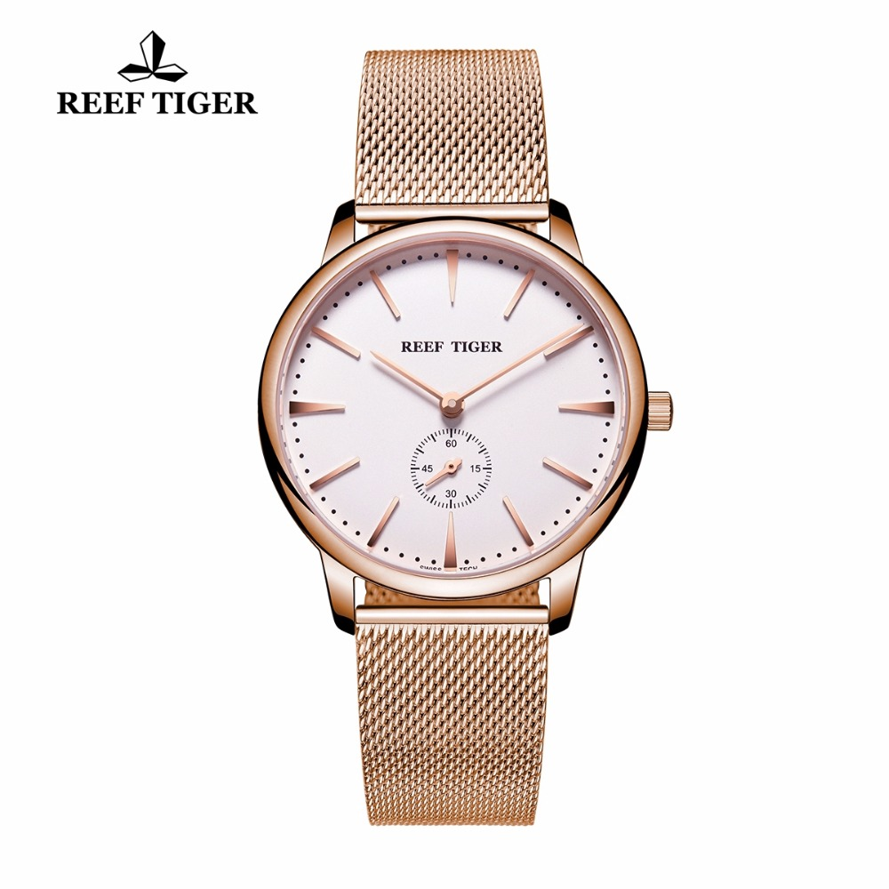 Reef Tiger/RT Casual Couple Watches for Men Analog Quartz Watch Simple Style Rose Gold Tone Watches RGA820
