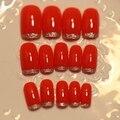 Accesorios Del Clavo de DIY Completo de Uñas Postizas de Color Rojo Brillante Glitter Punta Delgada de Acrílico Francés Falso Del Clavo Fijó 24 unids Z251