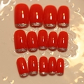 DIY Nail Accessories Shiny Red Full False Nails Glitter Tip Slim French Acrylic Fake Nail Set 24pcs Z251