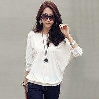 Blusas Femininas 2014 New Fashion Women T Shirt Ladies Casual Loose Long Batwing Sleeve Plus Size