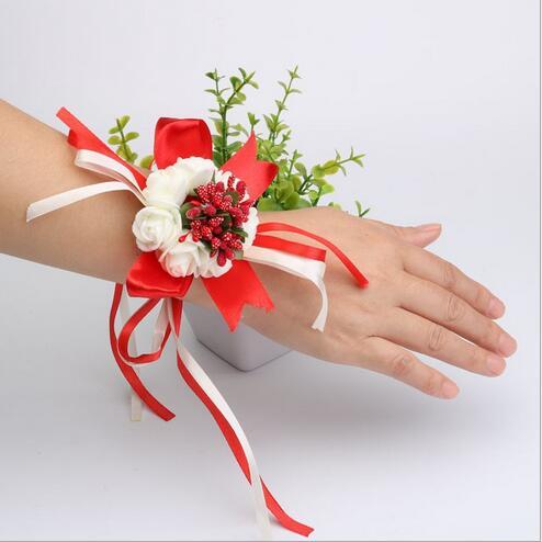 5pcs Wrist Flower Rose Silk Ribbon Bride Corsage Hand Flower Decorative Wristband Bracelet Bridesmaid Curtain Band Clip Bouquet Clothing, Shoes & Accessories Other Mobility & Disability