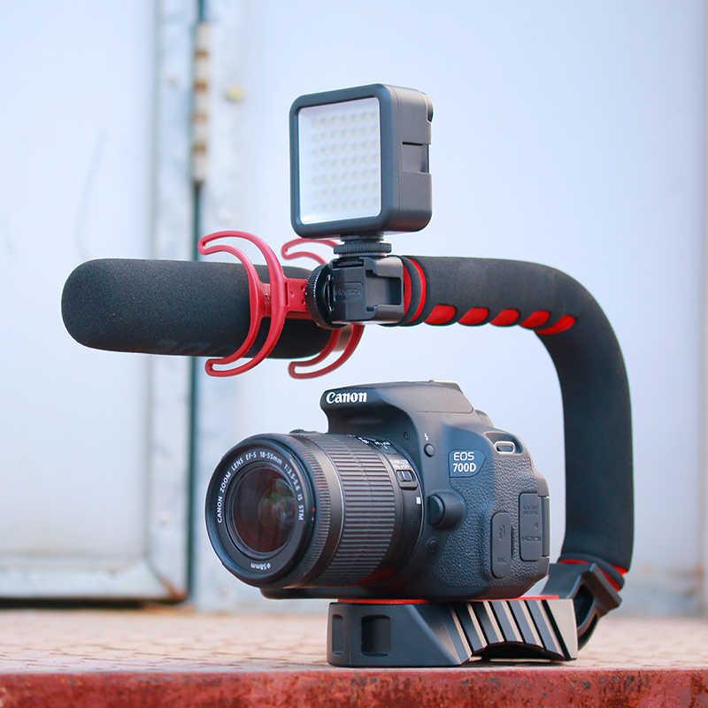 Ulanzi U-Grip Pro Triple Shoe Mount Video Stabilizzatore Maniglia Video Grip Camera Phone Video Rig Kit per Nikon canon iPhone X 8 7