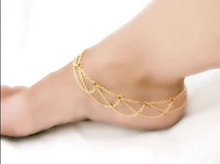 Free Shipping Beach Fashion Cross Bracelet Chain Link Foot Jewelry Anklets  Gold Plated Women Gifts Anklets