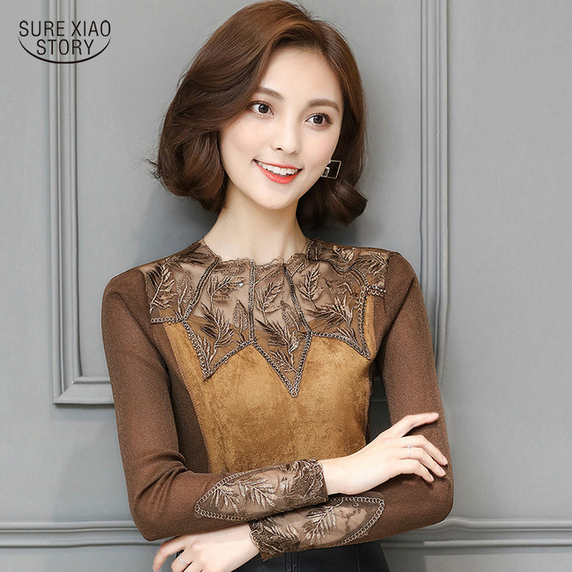 Autumn And Winter 2017 New Arrival Fashion Korean Sexy Ladies Lace Blouse With Long Sleeved Hollow