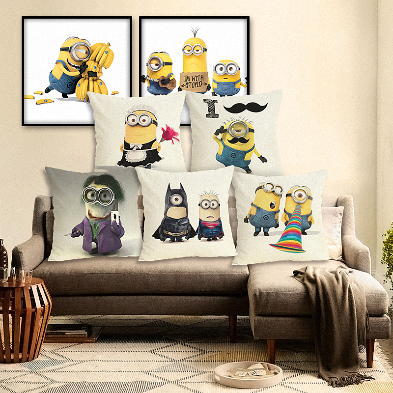 High Quality Home Decor Cojines Cartoon Style Cotton Linen