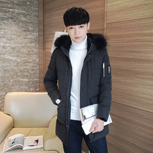 Winter youth man hooded fur collar men long thick warm slim young Korean coat