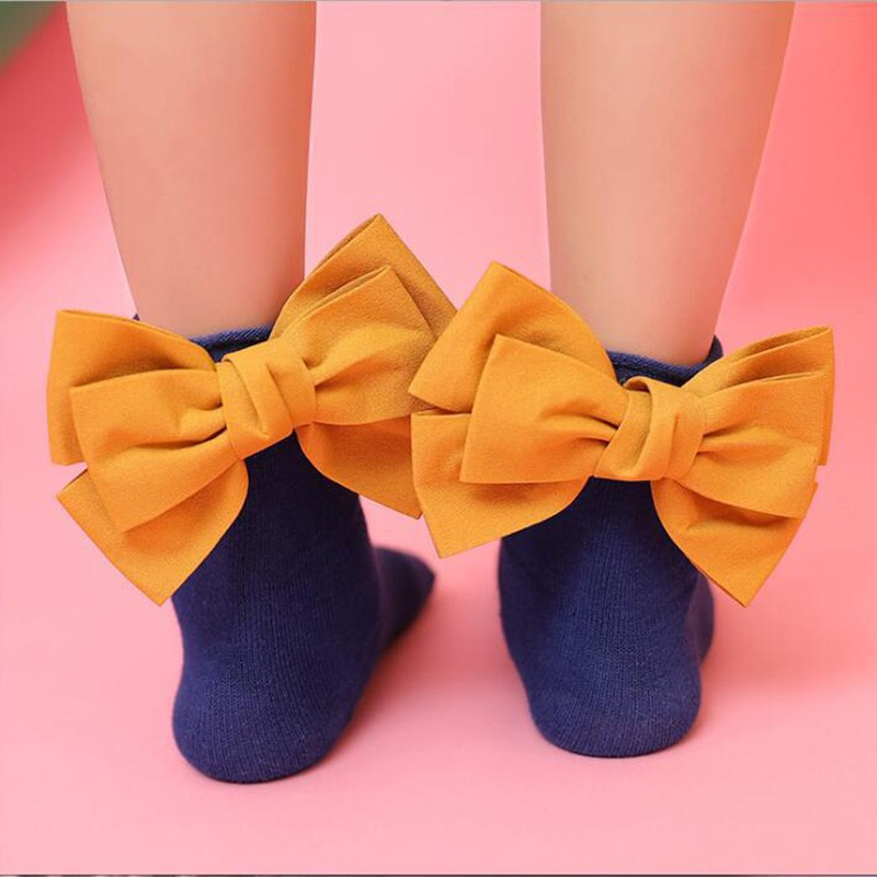 Children Socks Toddlers Girls Socks Big Bow Knee High Long Soft Cotton Lace Baby Socks Kids Knee Highs Girl Clothes