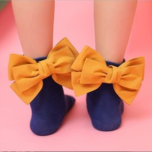 Children Socks Toddlers Girls Socks Big Bow Knee High Long Soft Cotton Lace baby