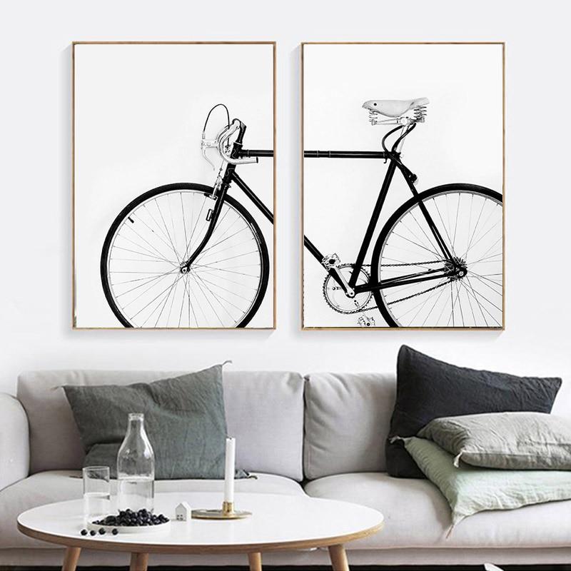 Modern Simple Bicycle Wall Art Black White Bike Canvas