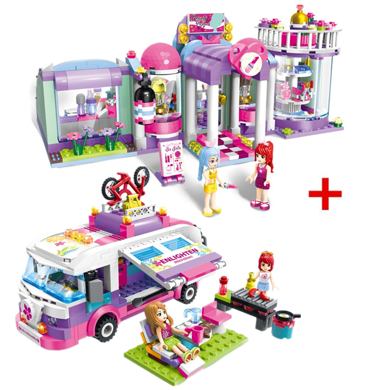 ENLIGHTEN City Girls Princess Outing Bus Car Building Blocks Sets Bricks Model Kids Gift Toys Compatible Legoings Friends