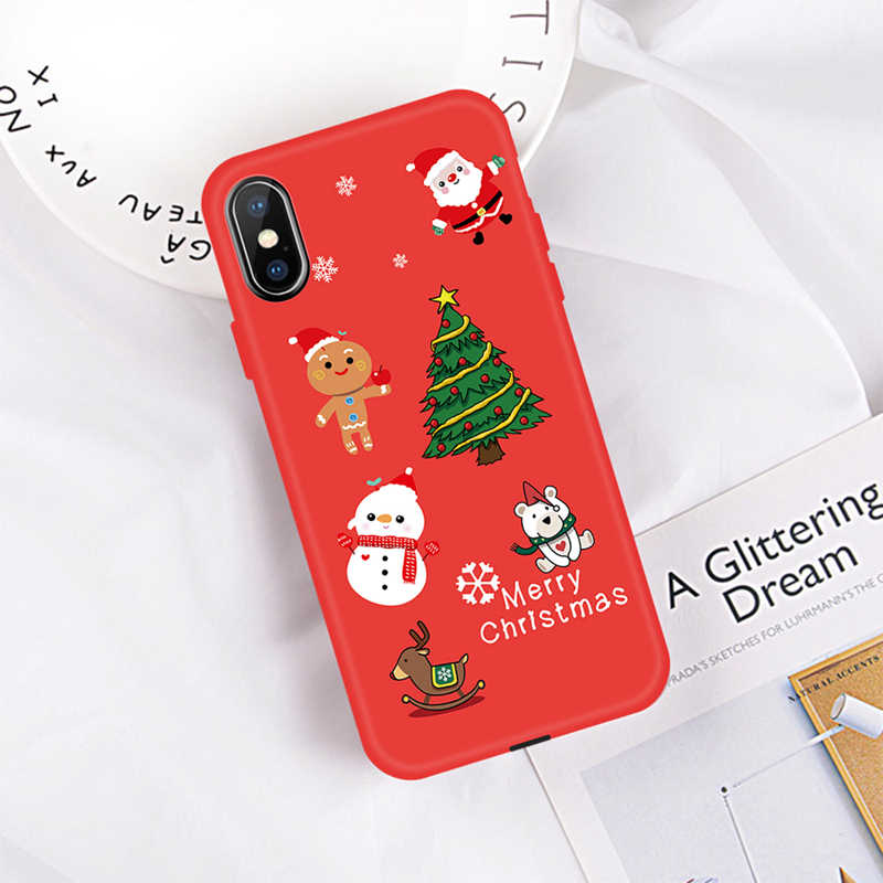 2019 السنة الجديدة عيد الميلاد حقيبة لهاتف أي فون XR XS ماكس لطيف الكرتون عيد الميلاد سانتا كلوز الأيائل كابا آيفون X 8 7 6 6 ثانية زائد غطاء
