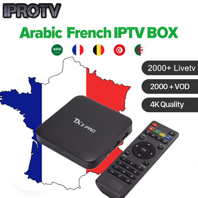 US $26 39 34% OFF|Quad Core androd tv box with 2100+ Live French Europe  Arabic IPTV Live TV One Year Validity IPROTV iptv free sports smart tv-in