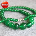 Для Ожерелье 6-14 мм Натуральный Зеленый Малайский jade Ожерелье женщины девушки Джаспер Круглый Шарики нефрита 18 дюймов Ювелирные Изделия изготовление дизайн-оптовая продажа
