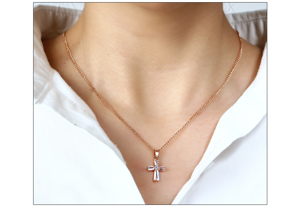 HTB1wtErkbsrBKNjSZFpq6AXhFXa2 - 17KM Rose Gold Color Cross Pendant Necklaces For Woman Crystal Pendant Cubic Zirconia Long Necklace Bijoux Jewelry Wholesale