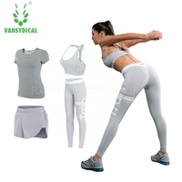 Vansydical Women Leggings Women Tracksuit 4pcs Set Sports Suit Flexible Mesh Yoga Leggings Workout Yoga Tights