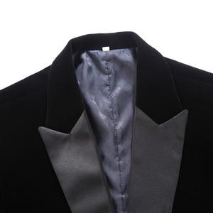 Image 3 - PYJTRL Blazer en velours pour hommes, grande taille, châle noir, classique, à revers, mode, pour marié, Slim, Costume de chanteurs, mode, décontracté