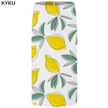 KYKU Lemon Skirts Women Fruit 3d Print White Sexy Retro Party Leaf Casual Pencil Ladies Womens Office Sundresses New