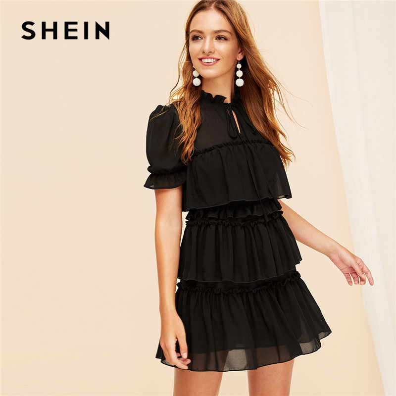 SHEIN Boho Black Tie Neck Ruffle Trim Layered Mesh Dress Women Elegant Puff Sleeve High Waist Stand Collar Solid Summer Dress