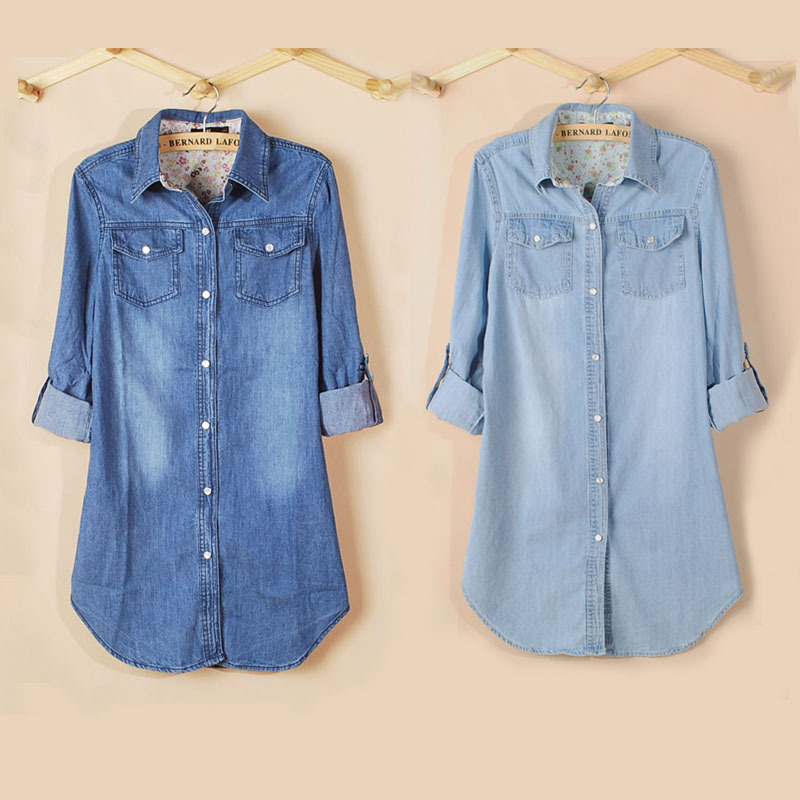 New Spring Fashion Long Loose Cotton Denim Women Blouses Long Sleeve Shirts Women Tops Jeans Blouse Female Casual Clothing