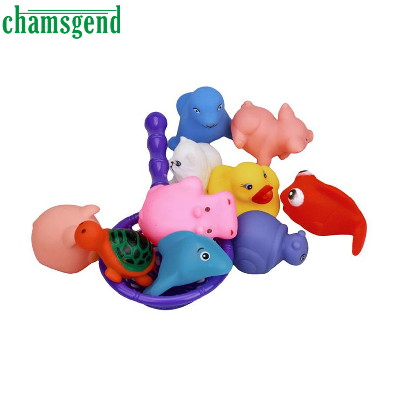 Chamsgend One Dozen 10pcs Rubber Animals With Sound Baby Shower Party Favors Toy Levert Dropship N1224