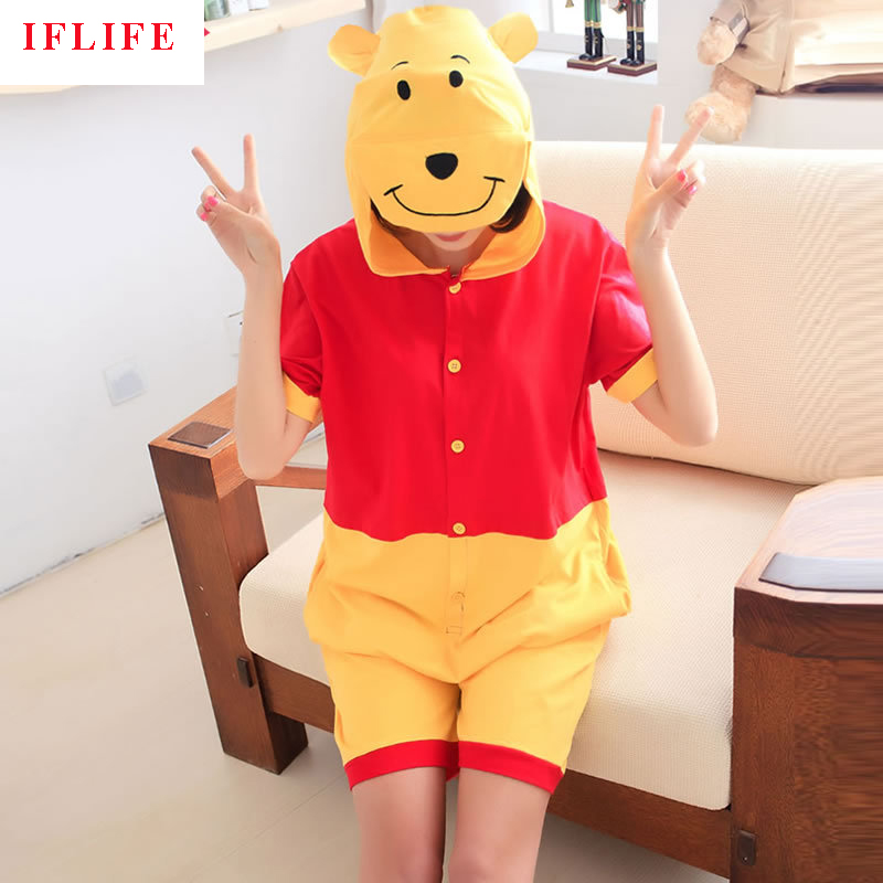 Summer Cotton Pajamas Animal Cartoon Cospaly Costume Short Pyjamas Unisex Family matching Onesie Hooded Sleepwear Winnie Bear ...