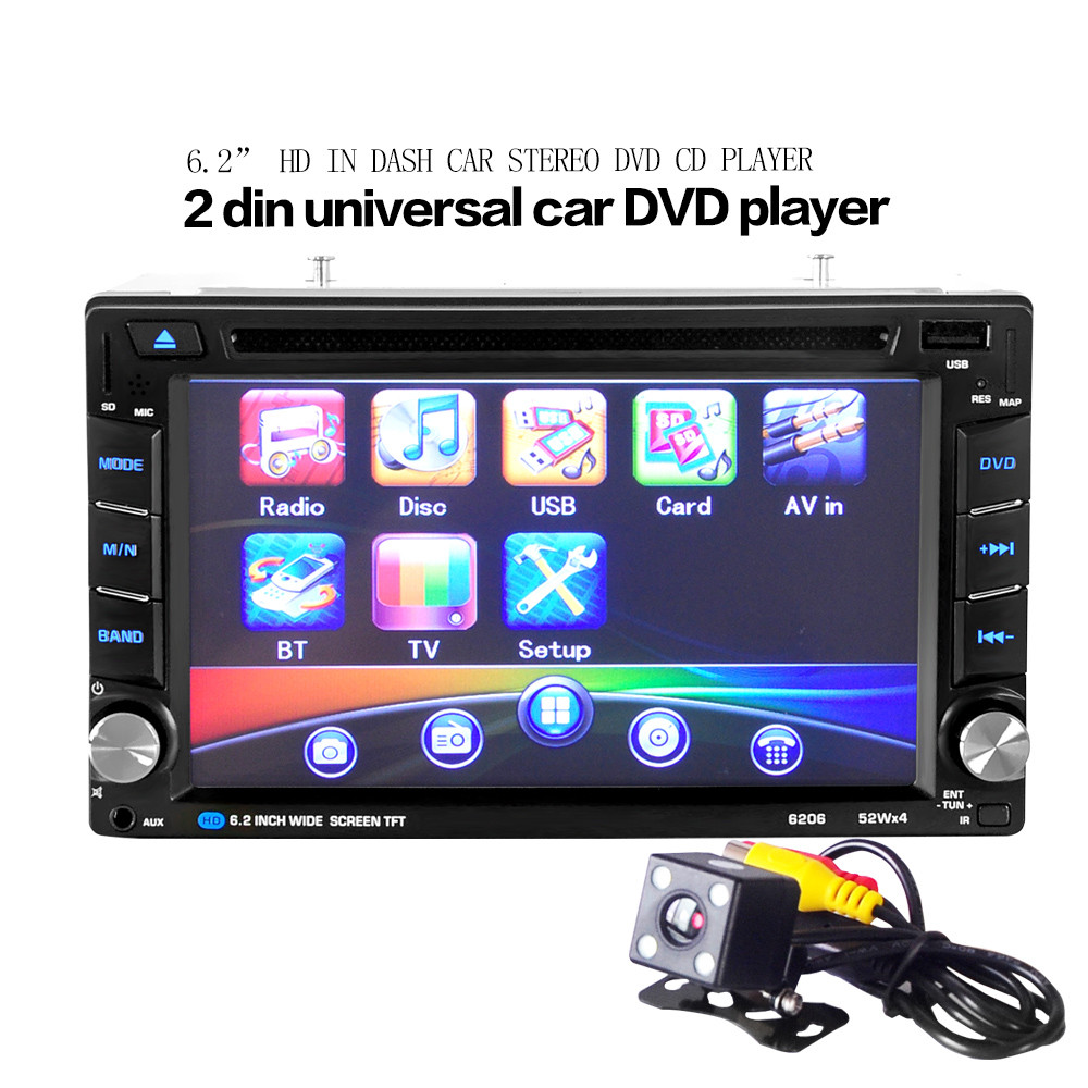 6.5 Double 2DIN Touch Car Stereo CD DVD Player Bluetooth USB SD AM FM TV Radio Convenience 17Dec25 7 inch 2 din bluetooth car stereo multimedia mp5 player gps navigation fm radio auto rear view camera steering wheel control